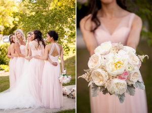 Amanda's bridesmaids and wedding florals close up
