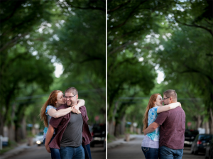tree lined street in regina engagement photos