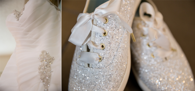 Sparkly Keds wedding shoes detail photo