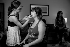 Bridesmaid makeup wedding prep photos