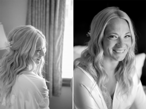 Bride smiling in gown black and white