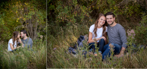 Couple sitting on blanket with trees and tall grass